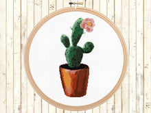 Potted Cactus Cross Stitch Pattern, Modern Pink Flower Cactus