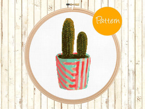 Cactus Cross Stitch Pattern, Modern, Cacti, Watercolor, Dessert, Counted Cross Stitch Pattern - Instant Download - Pdf