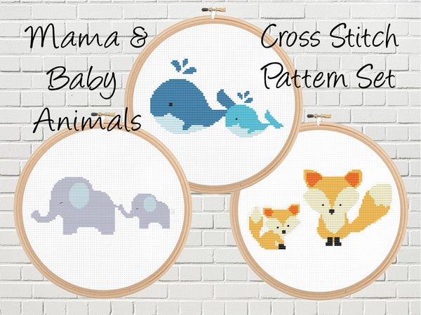 Cute Animals Cross Stitch Pattern Set