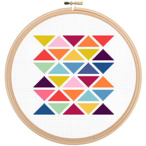 Modern Geometric Triangle Cross Stitch Kit, modern cross stitch patterns, leia patterns