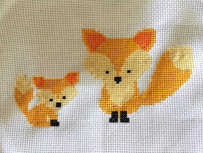 Cross Stitch Pattern - Baby Fox, Foxes, Cute, Modern, Counted Cross Stitch Pdf - Instant Download