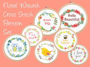 Floral wreath cross stitch patterns, flower wreath cross stitch patterns