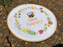 bee happy cross stitch kit, quote floral wreath, modern cross stitch kit