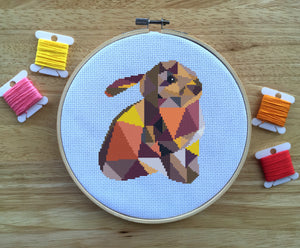 Modern Animal Cross Stitch Pattern - Geometric Bunny Rabbit - Cute Counted Cross Stitch Pattern - PDF - Instant Download