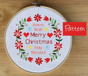 Merry Christmas Cross Stitch PDF - Modern Feliz Navidad, Joyeux Noel, X-mas Cross Stitch, Counted Cross Stitch Pattern - PDF