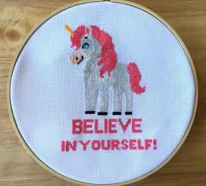 Unicorn Cross Stitch Pattern, Geeky Cross Stitch, Believe In Yourself, leia patterns