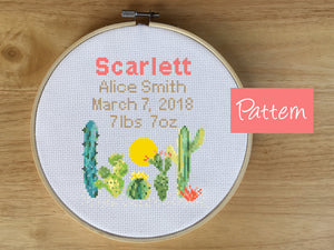 Cactus Birth Announcement Cross Stitch Pattern - Baby Nursery Gift