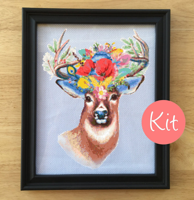 deer floral cross stitch pattern