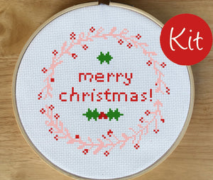 Modern Christmas Cross Stitch Kit - Merry Christmas Cross Stitch Kit, Christmas Cross Stitch Kit, Christmas Wreath Cross Stitch Kit
