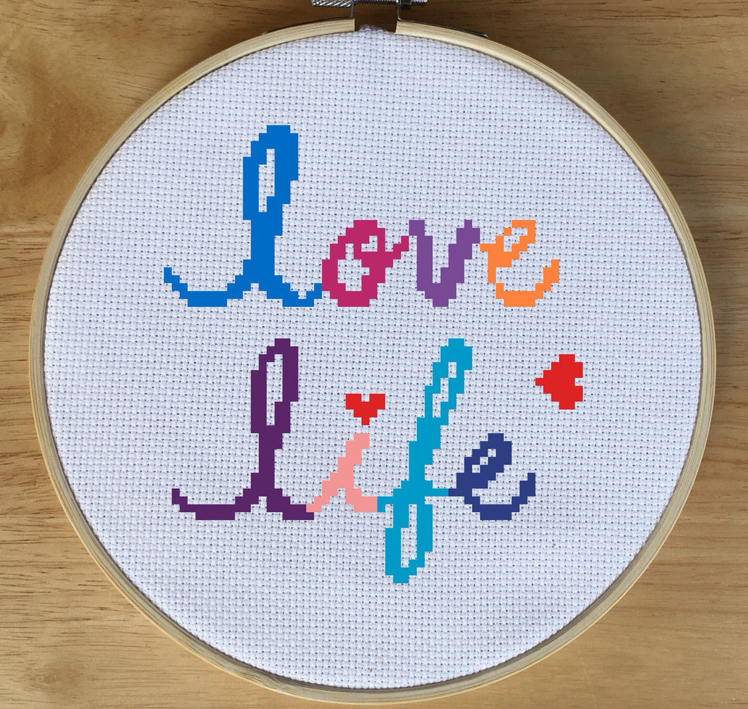 love quote cross stitch pattern, Quote Cross Stitch Pattern - Love Life Cross Stitch