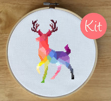 Colorful Deer Cross Stitch Kit, colorful animal cross stitch, rainbow