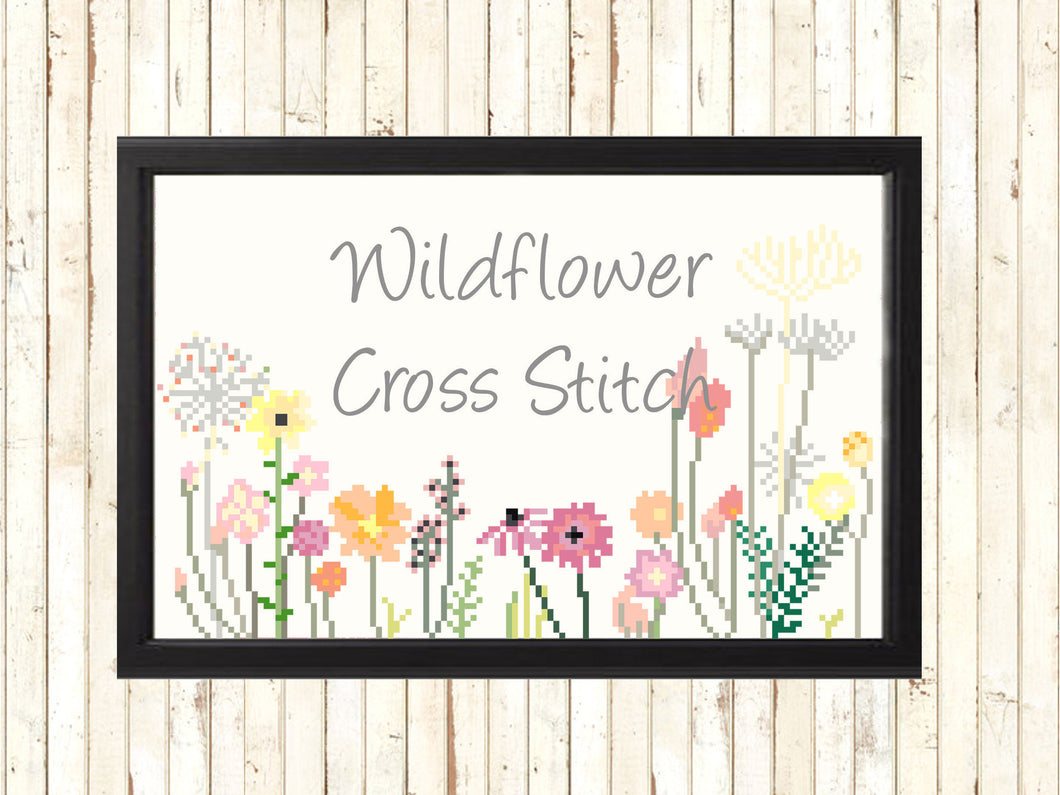 Boho Gift Cross Stitch Pattern, Modern Needlepoint Cross Stitch Pattern, Modern Pretty Cross Stitch Pattern, Wildflower Cross Stitch Pattern