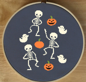 Halloween Cross Stitch Pattern, Skeleton Cross Stitch Pattern