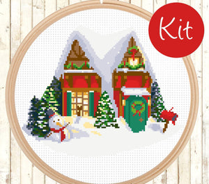 Modern Christmas Gift Cross Stitch Pattern - X-mas Cross Stitch, Counted Cross Stitch Pattern - PDF - Instant Download