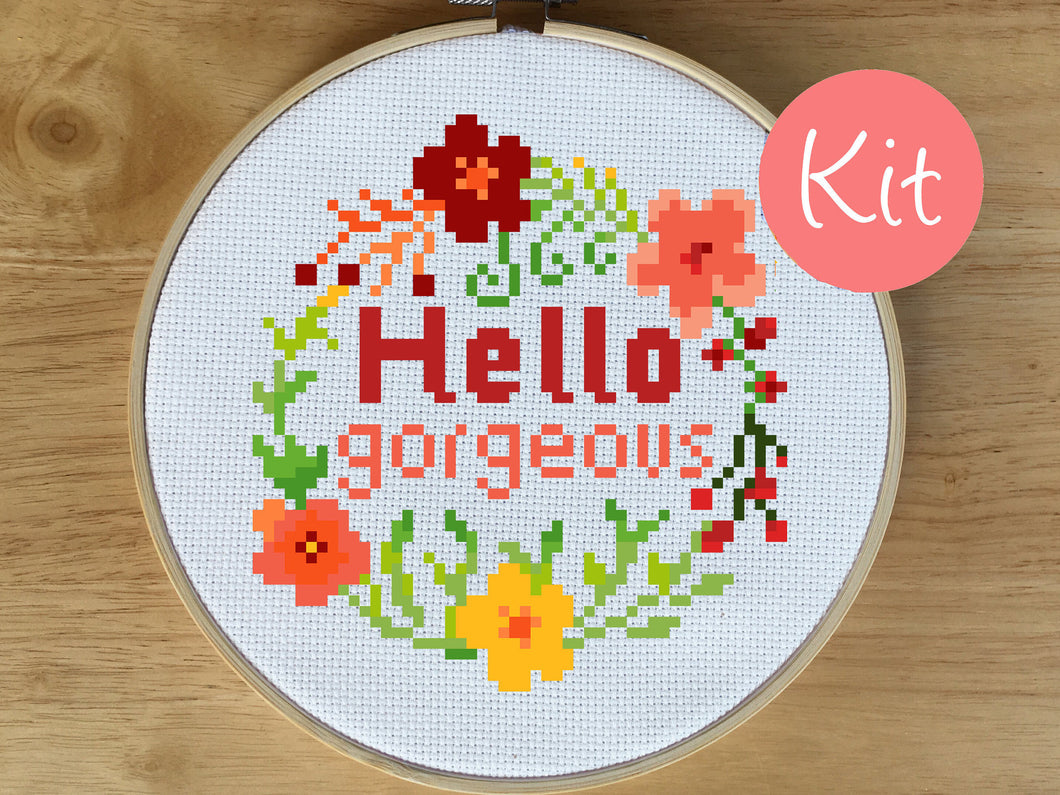 Hello Gorgeous Cross Stitch Kit - Quote Cross Stitch Pattern - Floral Wreath - Flower Design - Counted Cross Stitch Pattern - Spring, Love