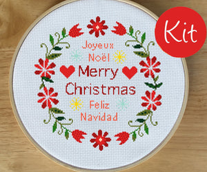 Merry Christmas Modern Cross Stitch Kit - 3 Languages