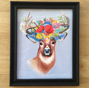 floral cross stitch pattern, deer cross stitch, boho cross stitch