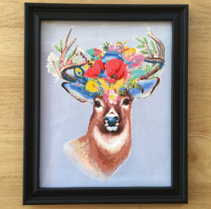Deer Cross Stitch Pattern - Floral Cross Stitch Pattern, leia patterns
