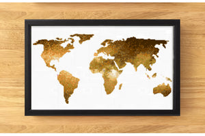 World Map Cross Stitch pattern - Gold, leia patterns