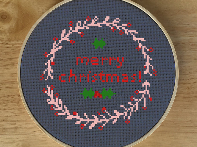 Modern Christmas Cross Stitch Pattern - Merry Christmas Cross Stitch Pattern, Christmas Cross Stitch PDF, Christmas Wreath Cross Stitch