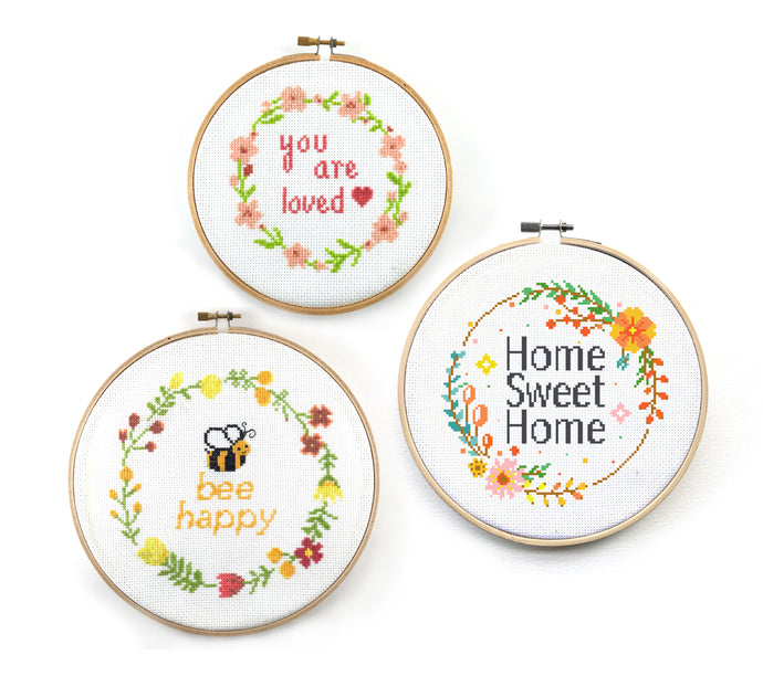 Flower Wreath Quote Cross Stitch Pattern Set, home sweet home, bee happy, you are loved