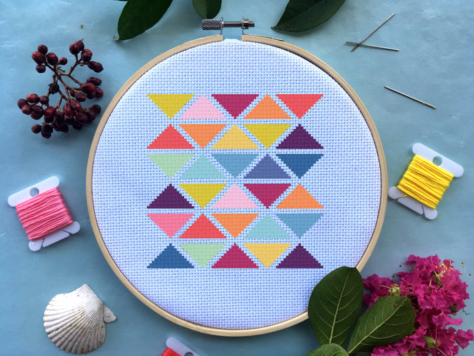 Modern Geometric Triangle Cross Stitch Pattern