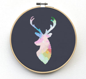 Deer Cross Stitch Pattern - Watercolor Deer