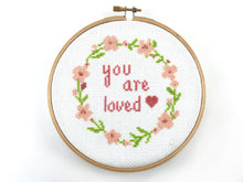 Floral Wreath Cross Stitch Pattern - You Are Loved Quote - Baby Nursery