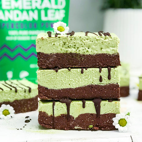 Raw Brownie & Emerald Pandan Leaf Cheesecake Bars
