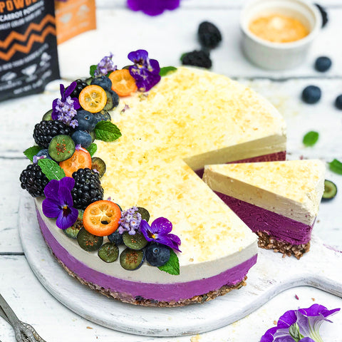 Ebony Carrot & Sparkly Passion Fruit Cheesecake