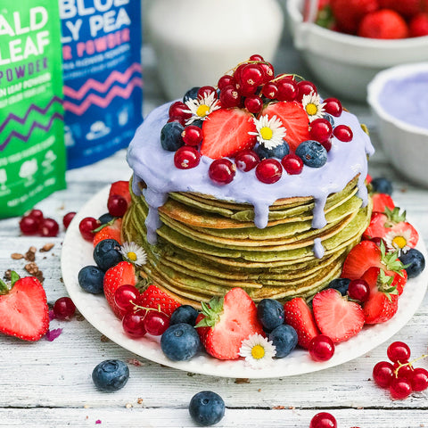 Pandan Leaf Pancakes with Blue Butterfly Pea Yogurt Sauce