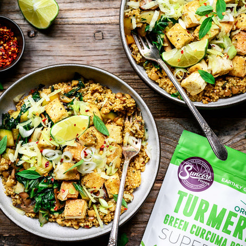 Green Turmeric Coconut Quinoa with Lentils and Curry
