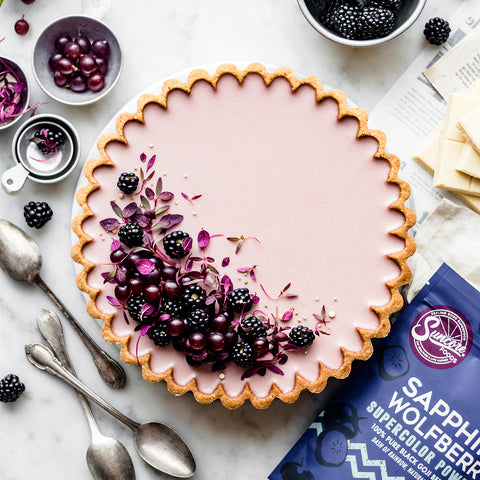 Sapphire Wolfberry Blackberry White Chocolate Tart
