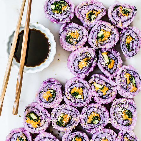 Spicy Purple Sweet Potato Sushi