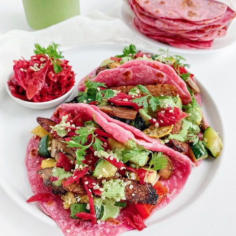 Vegan Summer Loaded Pink Pitaya Tacos