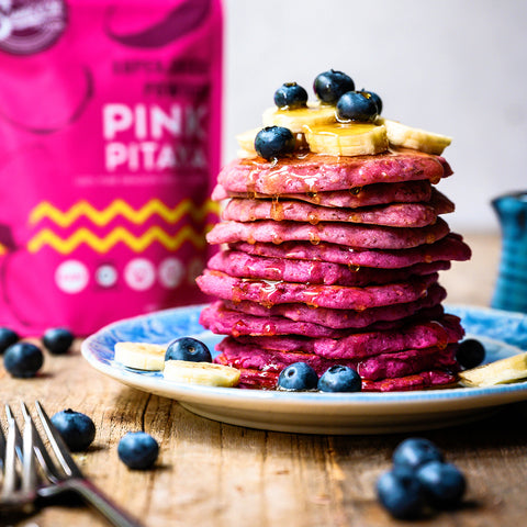 Pink Pitaya Raspberry Almond Supercolor Pancakes