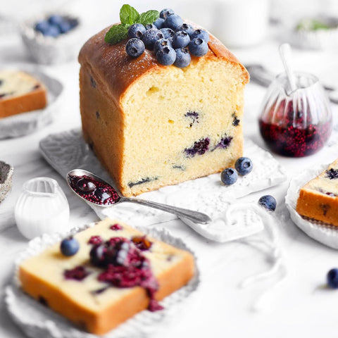 Blueberry Chia Jam Lemon Pound Cake