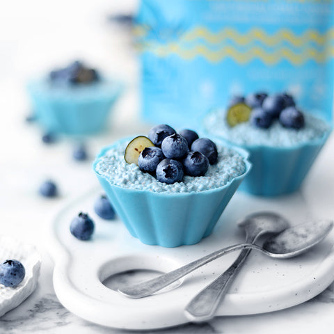 Morning Aqua Blue Spirulina Oceanic Chia Pudding in White Chocolate Cups