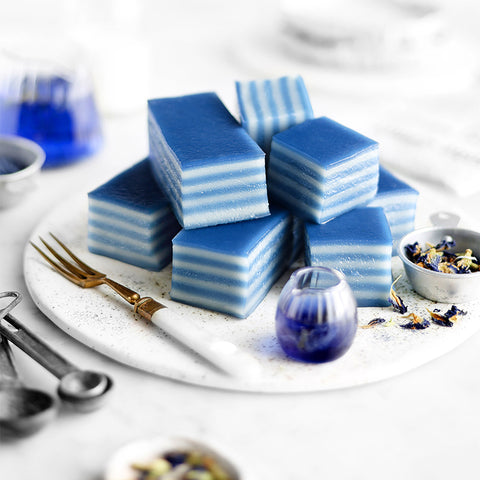 Blue Butterfly Pea Steamed Layer Cake