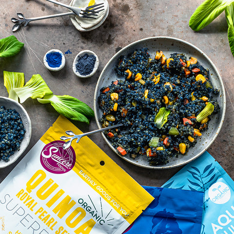 Blue Butterfly Pea Spirulina Quinoa Fried Rice