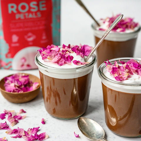 Chocolate Mousse with Rose Petals