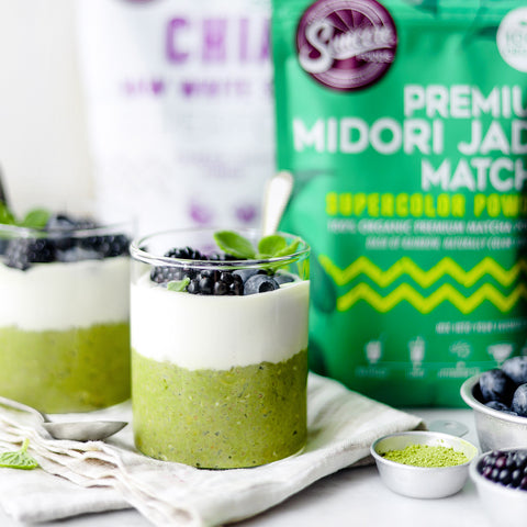 Creamy Coconut Matcha Chia Seeds Overnight Oats