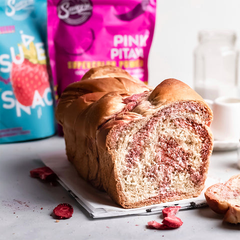 Marbled Loaf with Pink Pitaya and Strawberry Chips