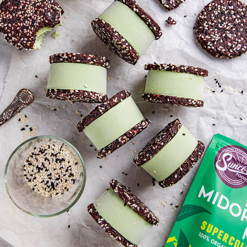 Matcha and Sesame Ice Cream Sandwiches