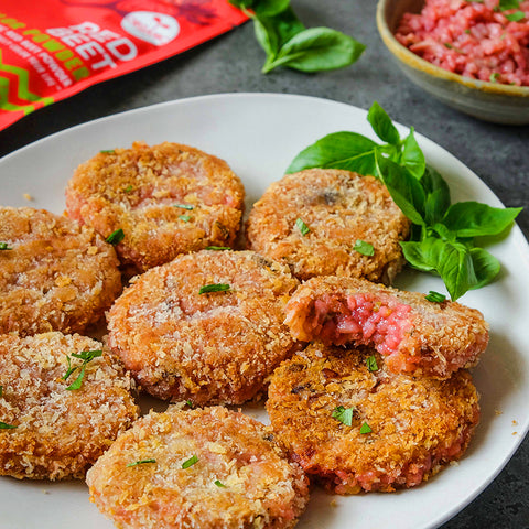 Mushroom Red Beet Risotto Cakes
