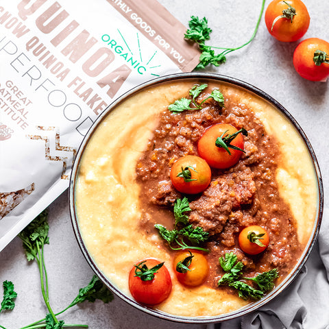Vegan Quinoa Polenta with Bolognese