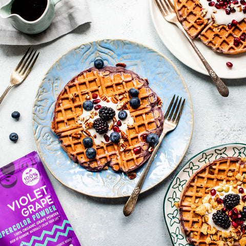 Violet Grape Sweet Potato Waffles