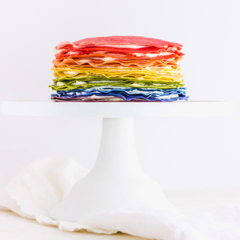 All-Natural Rainbow Mille Crepe Cake