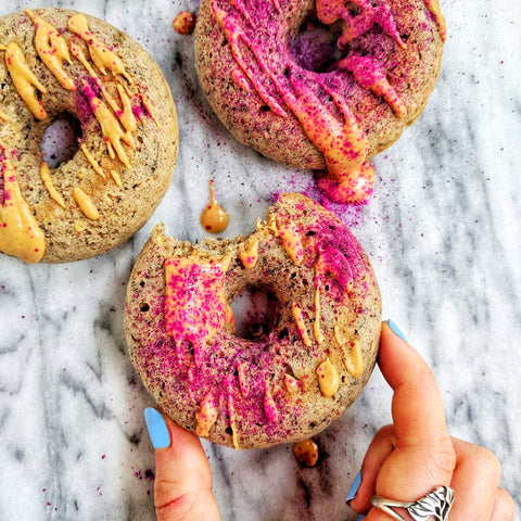 Pink Pitaya Dusted Banana Bread Donuts