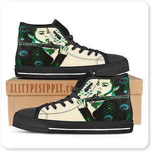Abstract Graffiti Artist Collection Asia Green - Men's Women's High Low Top Black White Trim Canvas Shoes - EXPRESS DELIVERY!